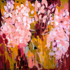 'Pink Petals' Kathryn Adamson Mixed Media on canvas 100 x 100cm