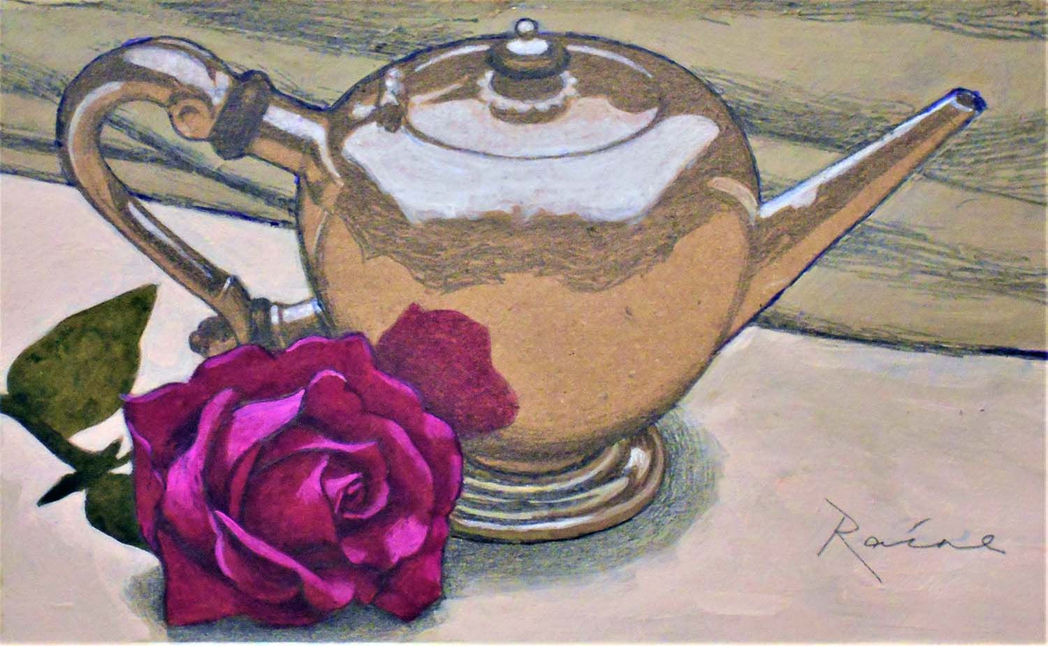 'Meldrum Teapot by Duncan Urquhart c 1700' John Paul Raine Pencil and Acrylic on Paper  25x15cm  £335