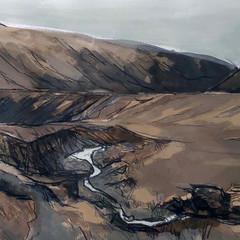 'Fairy Pools, Skye study 2' Jo McIntosh  Mixed Media on paper  70 x 54cm £380