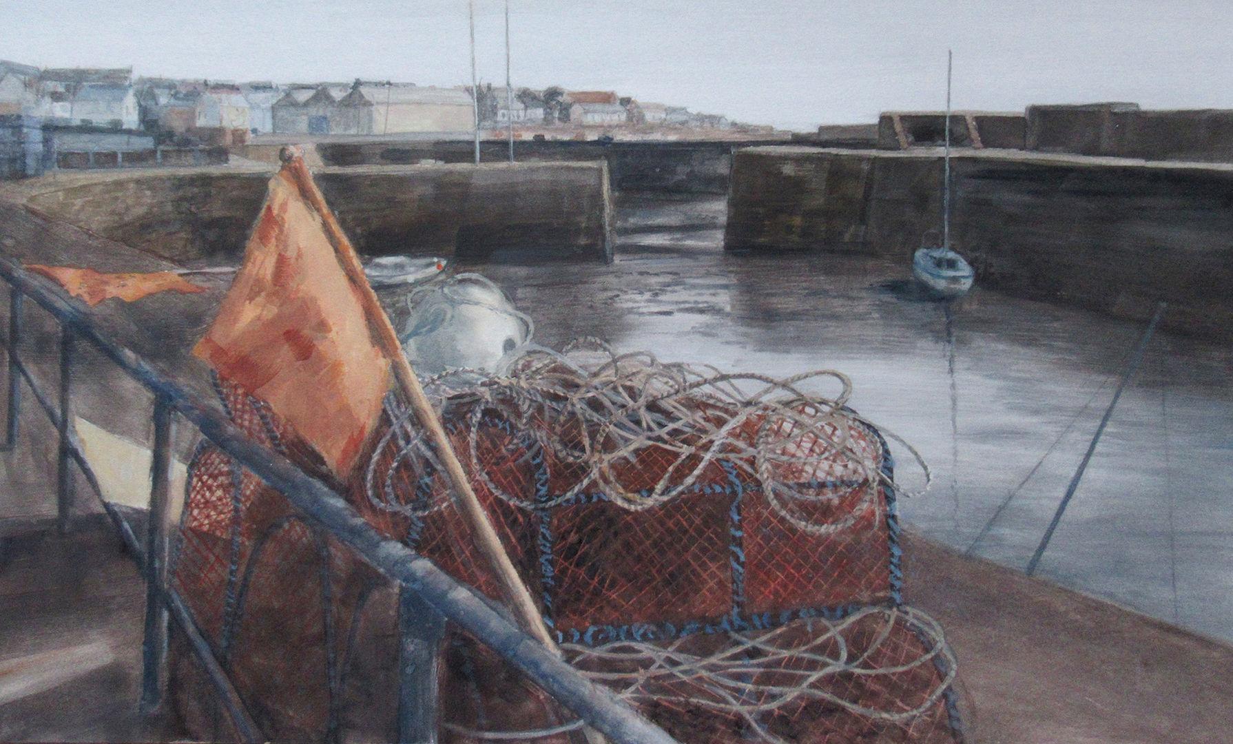 'Low Tide, The Harbour, Johnshaven' David E Johnston RSW Watercolour 58x35cm £1100