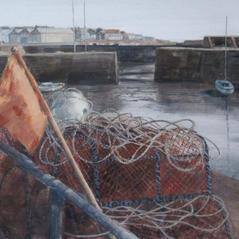 'Low Tide, The Harbour, Johnshaven' David E Johnstone RSW Watercolour 58 x 35cm