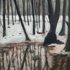 'Silent Reflection'  Lorraine Taylor  Oil on Paper  47 x 39cm  £385