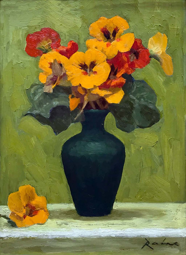 'Nasturtiums in a Green Vase' John Paul Raine Oil on Panel 24x38cm £650