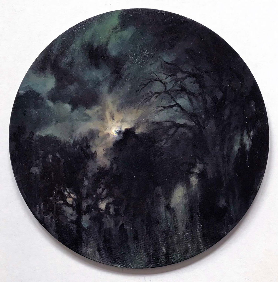 'Luna' Mary Louise Butterworth Acrylic on Panel 30cm Diameter £1450