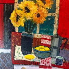'Sunflowers and Lemons' Fiona Sturrock Acrylic on canvas 60x60cm £1200
