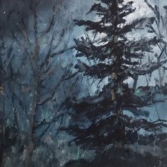 'Sentinel'  Lorraine Taylor  Oil on paper  45 x 36cm  £295