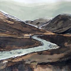 'Fairy Pools, Skye study'  Jo McIntosh  Mixed Media on paper  70 x 54cm  £380
