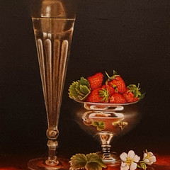 'Champagne and Strawberries'  Hilary Gauci Oil on linen board  38 x 48cm   £1250