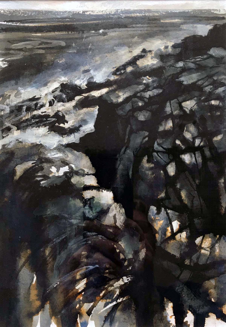 'Cove I' Mary Louise Butterworth Ink and Acrylic Sketch 18x25cm £250