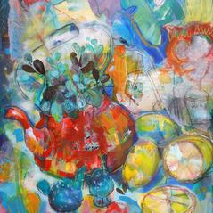 'Tea with Mint & Lemon' Anna Malyon Mixed Media 52x62cm £480