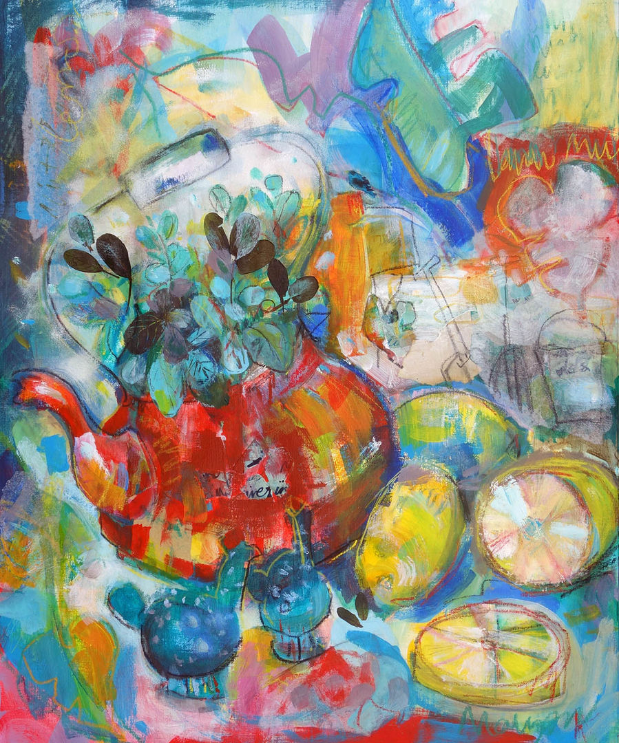 'Tea with Mint & Lemon'  Anna Malyon Mixed Media on Paper 52x62cm £480
