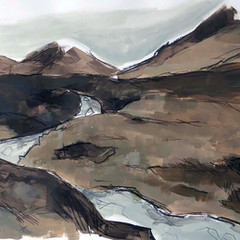 'Fairy Pools, Skye study 3' Jo McIntosh  Mixed Media on paper  70 x 54cm  £380
