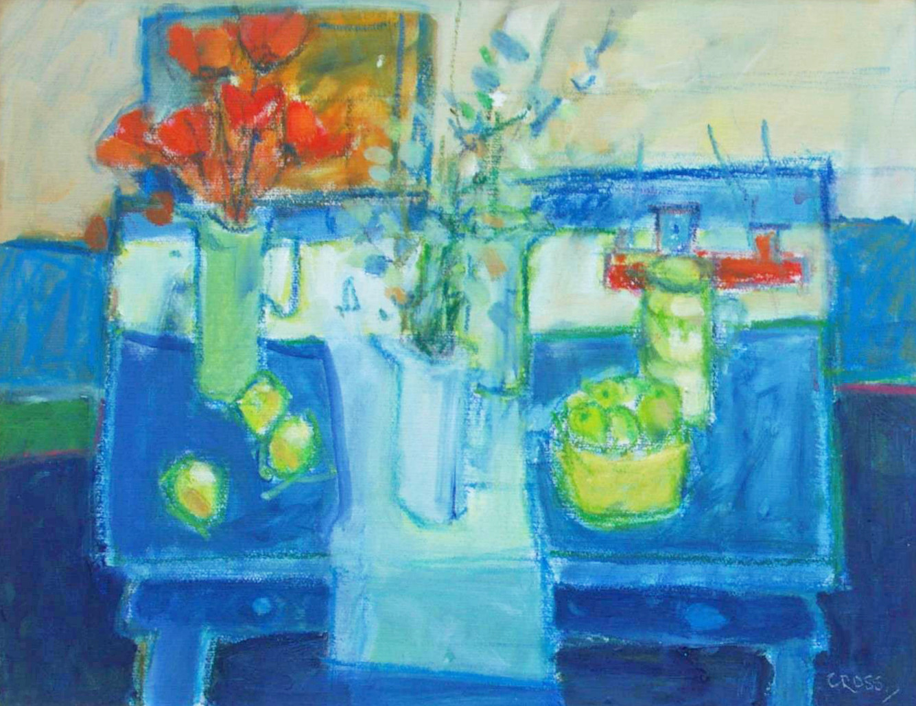 'The Blue Table'  Andy Cross Oil on Board 36x46cm
