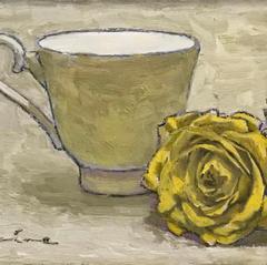 'Cup and Rose' John Paul Raine Oil on board 22x17cm £450