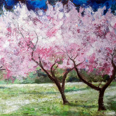 'Blossom Trees in the Meadow' Ann Oram RSW Acrylic on board 68x48cm