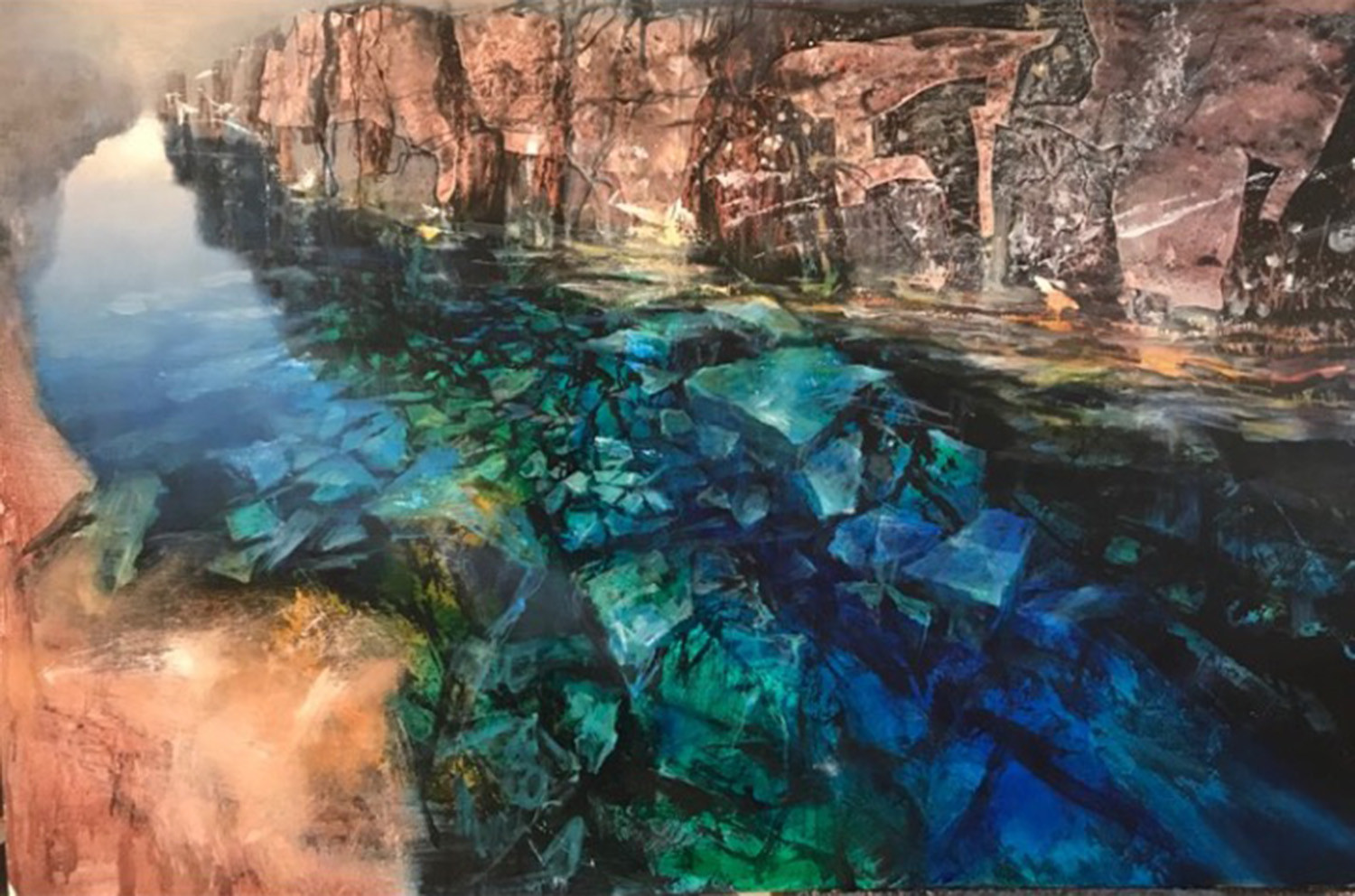 'Clear Water, Iceland' Beth Robertson Fiddes Mixed Media