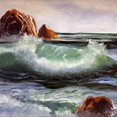 'Wave Study 5' Hilary Gauci  Oil on linen board  20 x 15cm  *SOLD*