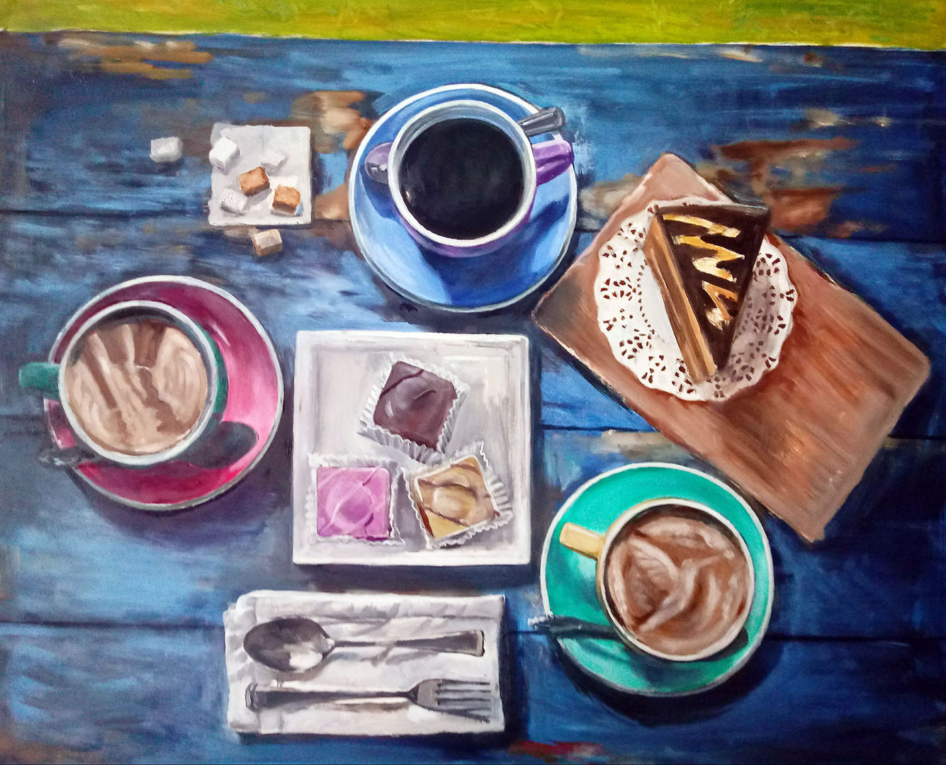'Coffees & Treats, Alfresco' Drysdale Scott Oil on Panel  50x60cm  £1700