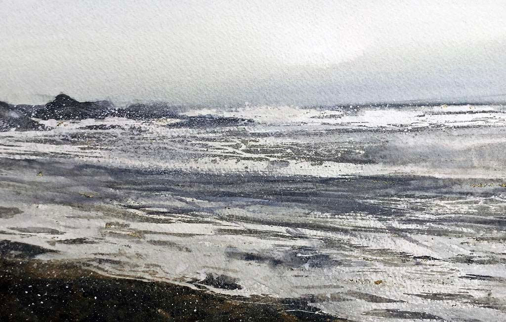 'Study For Winter Sea & Shoreline, Catterline' David E Johnston RSW  Watercolour 29x15cm *SOLD*