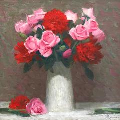 'Roses and Chrysanthemums' John Paul Raine Oil on board 25x23cm £450
