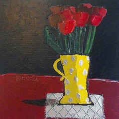 'Tulips in Yellow Spotted Jug' Fiona Sturrock Acrylic on canvas 40x40cm £650