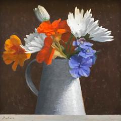 'Nasturtiums and Marguerites' John Paul Raine  Oil on board  30 x 25cm   £1500