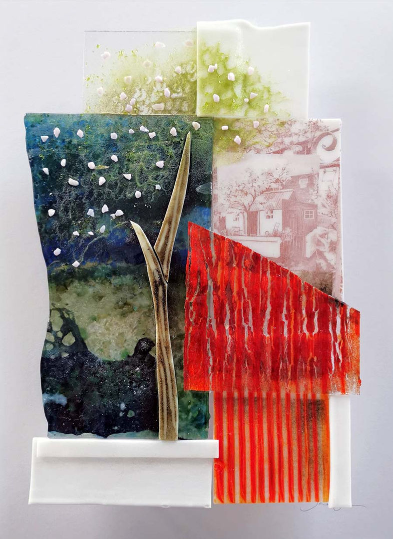 'Red Roof, Fittie' Shelagh Swanson   Kiln formed Glass  44x54cm  £750