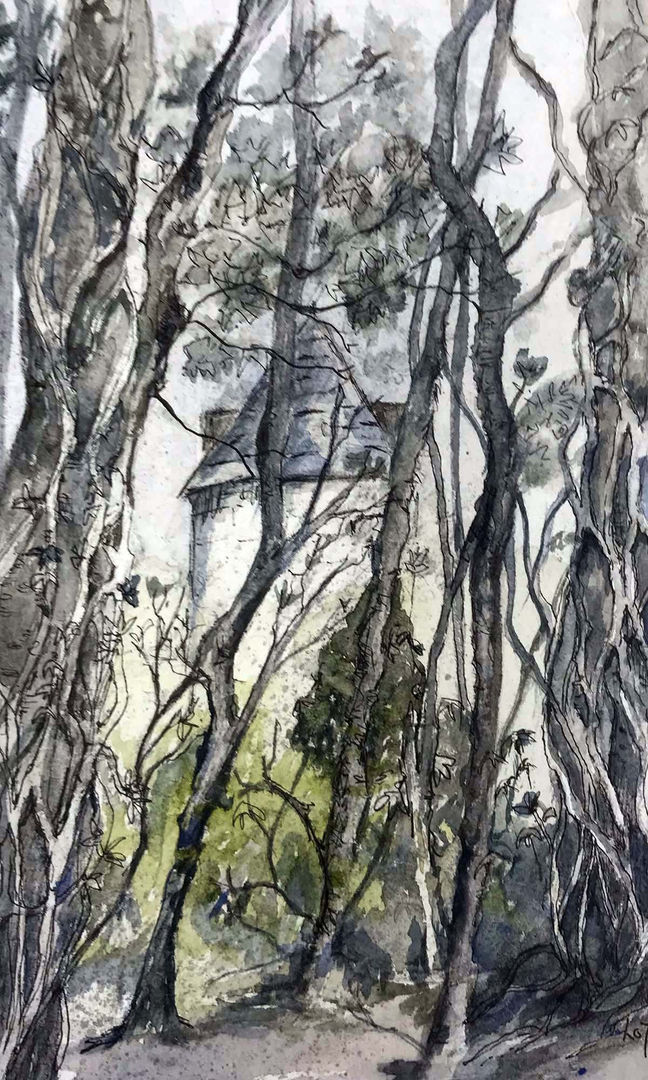 'What Lies Within' Lorraine Taylor Pen and Ink wash on paper 15x25cm *SOLD*