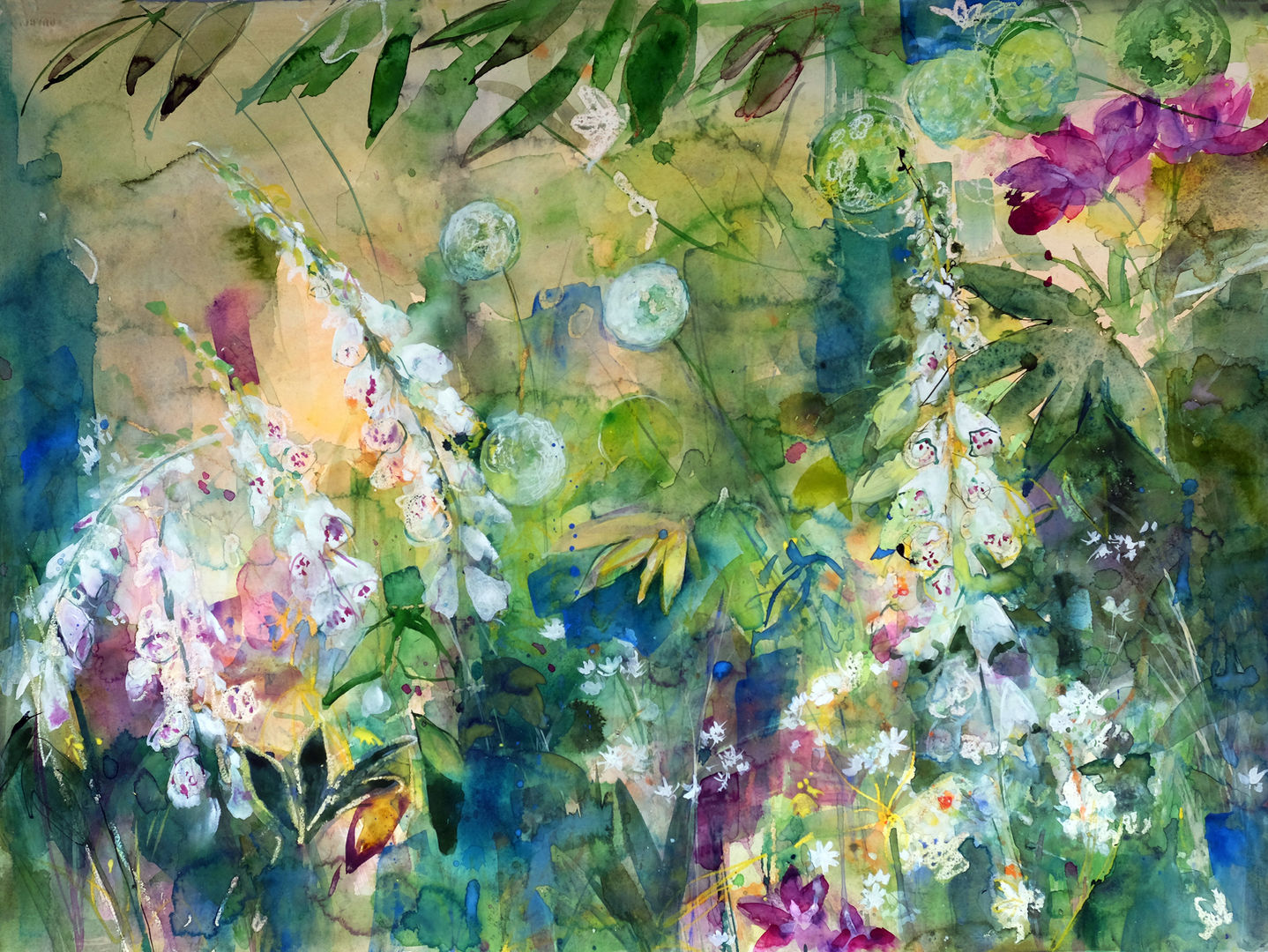 'Summer Garden with Soft Light' Ann Oram RSW Watercolour  76x66cm  £3950