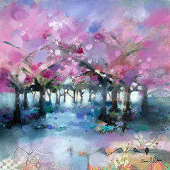 'Blossom and Blues'  Emma S Davis RSW  Mixed media with oil  53 x 53cm  £1200