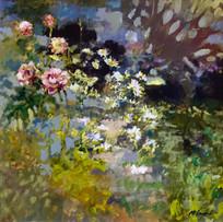 'Garden in July' John McClenaghen Acrylic on Canvas 40x40cm £860