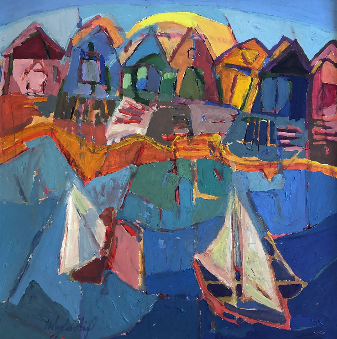 'Beach Huts' Catherine Imhof Cardinal Oil on Board 55x57cm £860