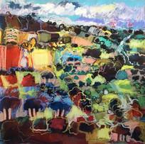 'Trees on a Hillside' John McClenaghen Mixed Media 25x25cm £445