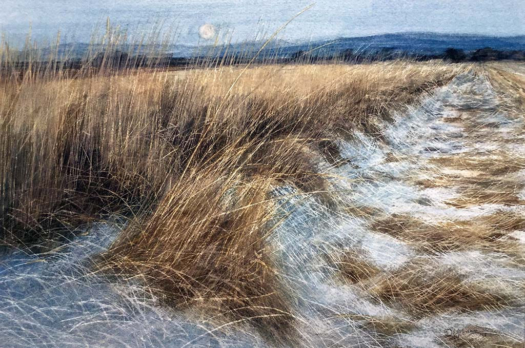 'Winter Moonrise Over Glen Esk' David E Johnston RSW Watercolour 43x29cm £675