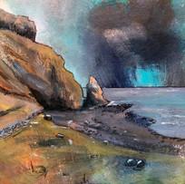 'Cobalt Blue over Talisker Bay' Morag Stevenson Mixed Media  16x18cm  £325