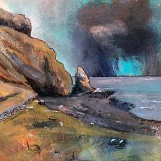 'Cobalt Blue over Talisker Bay' Morag Stevenson Mixed Media  16 x 18cm  £325