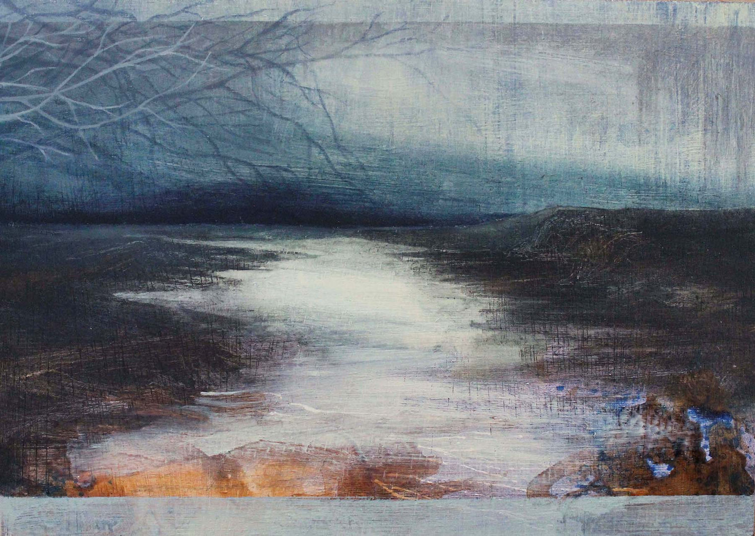 'Still Waters along the West Coast' Nerine Tassie Mixed Media  21x15cm *SOLD*