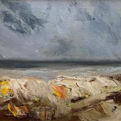 'Beach South of Catterline'    Gundra Nock  Oil on Canvas  45.5 x 45.5cm  £415