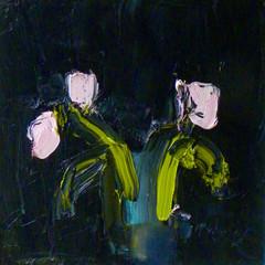 'Pink Tulips against Lamp Black'  Alison McWhirter  Oil on linen 40 x 40cm   £1990