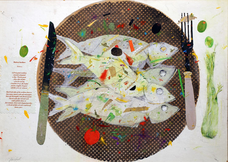 'Sardines' John Hall Mixed Media  42x30cm £500