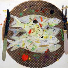 'Sardines' John Hall   Mixed Media 42 x 30cm  £800