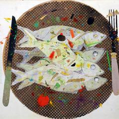 'Harissa Sardines' John Hall   Mixed Media 42 x 30cm