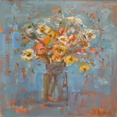 'Hedgerow Flowers'  Jackie Philip  Oil on canvas  46 x 46cm  £1450