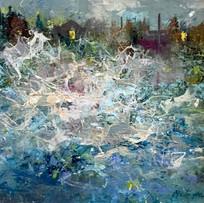 'East Coast Storm' John McClenaghen Acrylic on Canvas 20x20cm £465
