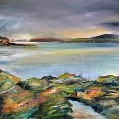 'Passing Showers and The Rockpools'  Morag Stevenson  Mixed media on board  58 x 30cm  £850