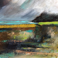 'Clouds over Lime Green, Talisker Bay'  Morag Stevenson Mixed Media  18x16cm   £325