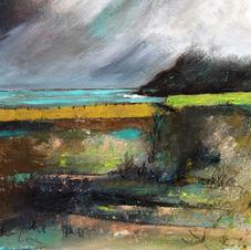'Clouds over Lime Green, Talisker Bay'  Morag Stevenson Mixed Media  18 x 16cm  £325