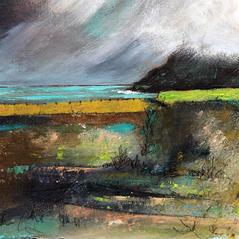 'Clouds over Lime Green, Talisker Bay'  Morag Stevenson Mixed Media  18 x 16cm