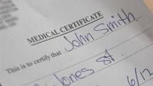 Requesting a Medical Certificate