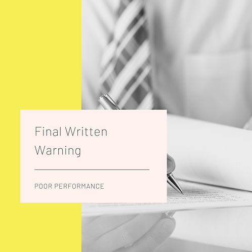 Final Written Warning - Poor Performance